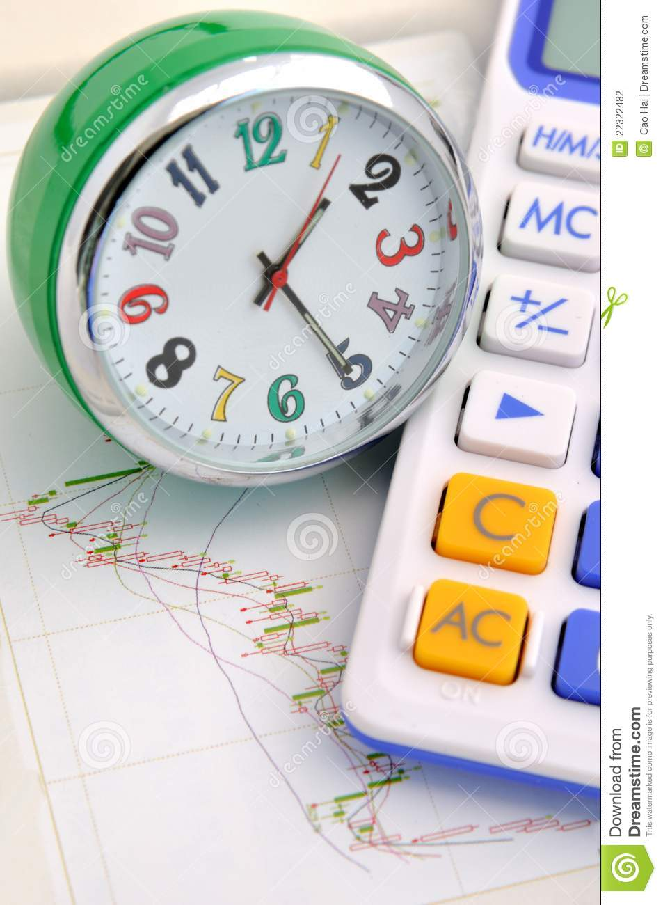 Clock And Calculator On Stock Graph Stock Photo - Image of