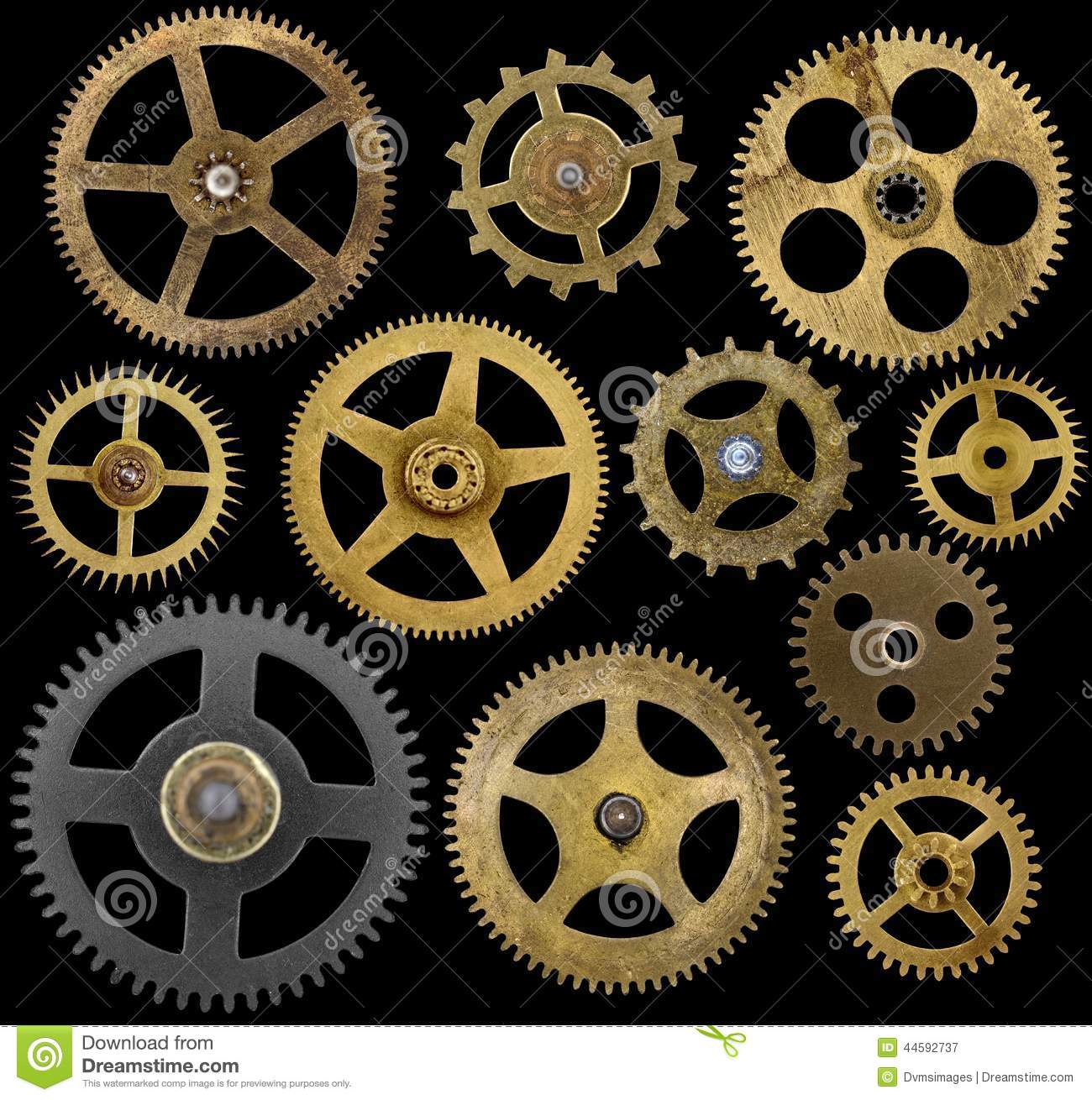 Clock Cogs Isolated On Black Stock Image - Image: 44592737