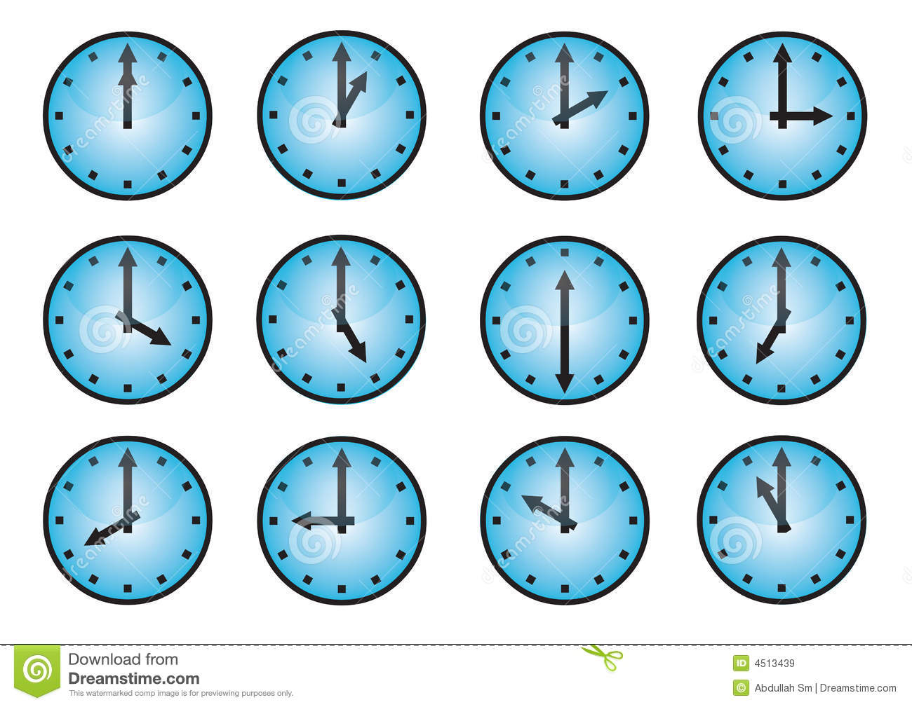 Clock Different Icons Stock Vector Image Of Graphics