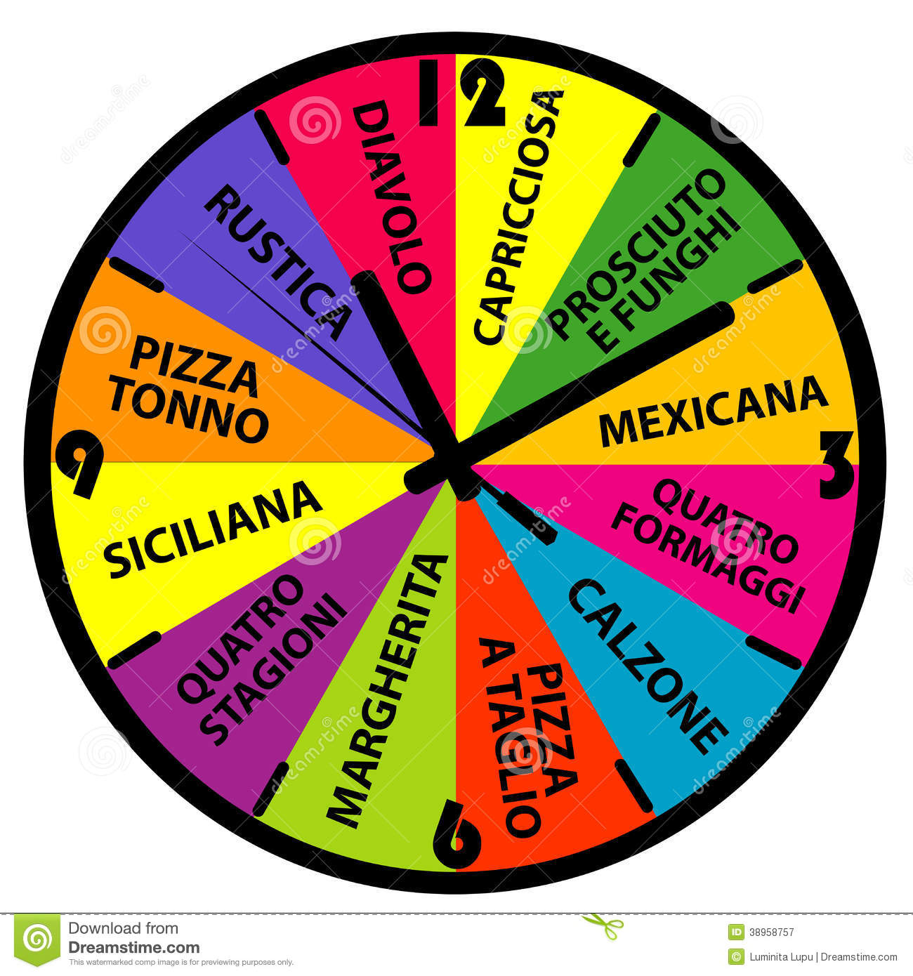 clock with different pizza names stock illustration illustration