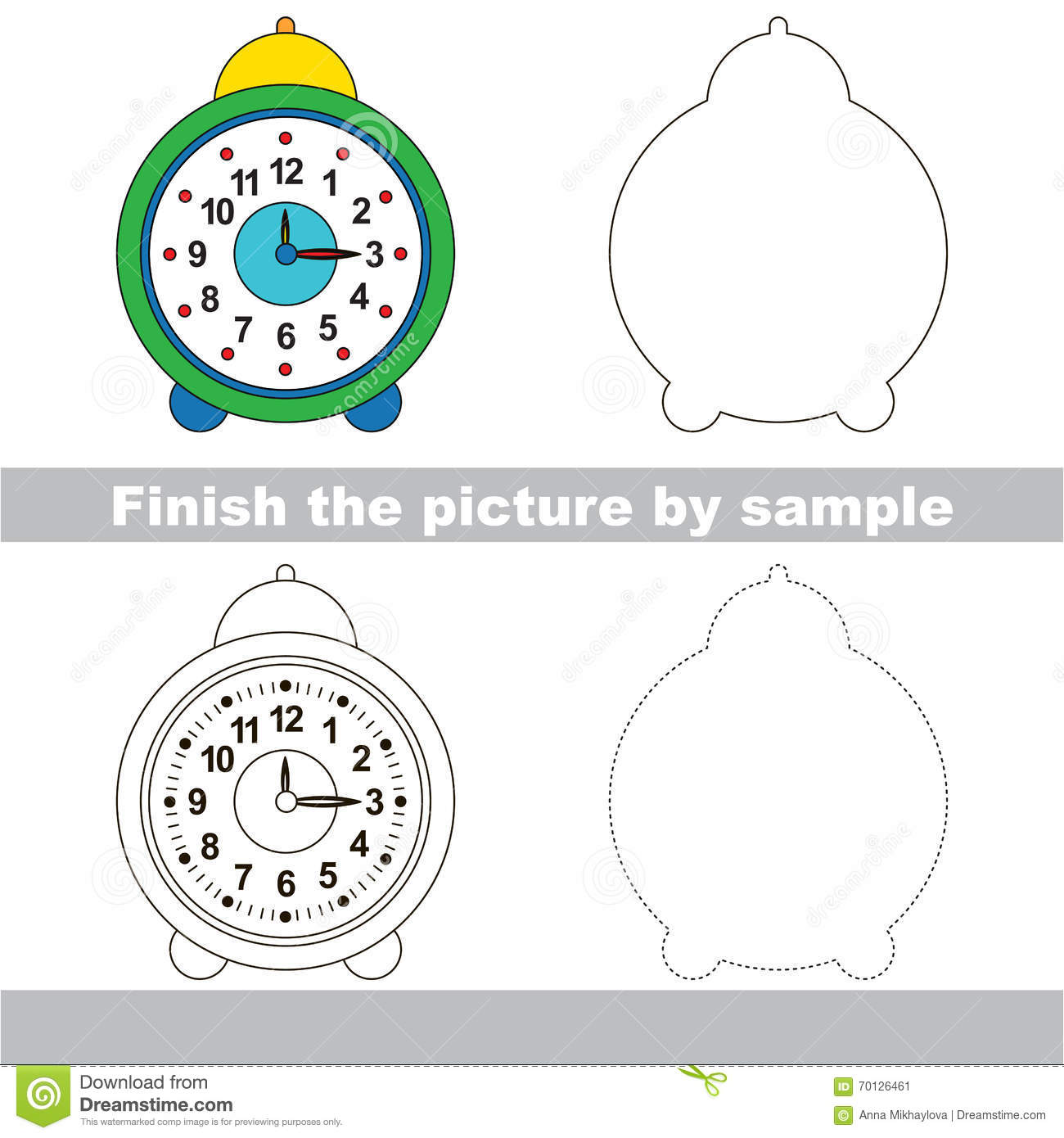 Clock Drawing Worksheet Stock Vector Illustration Of Paper 70126461