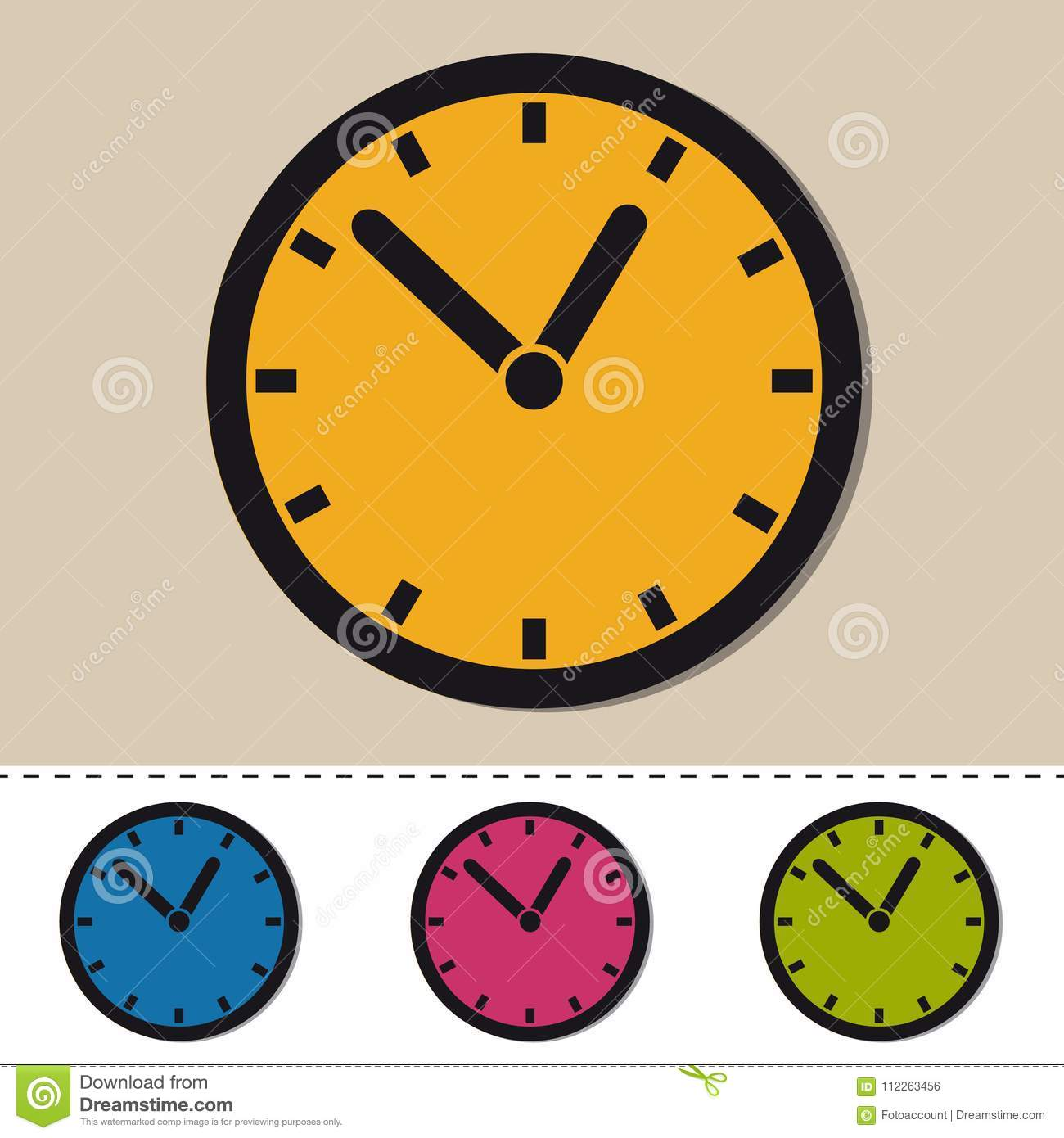 Clock - Editable Colorful Vector Icons - Isolated On White Stock ...