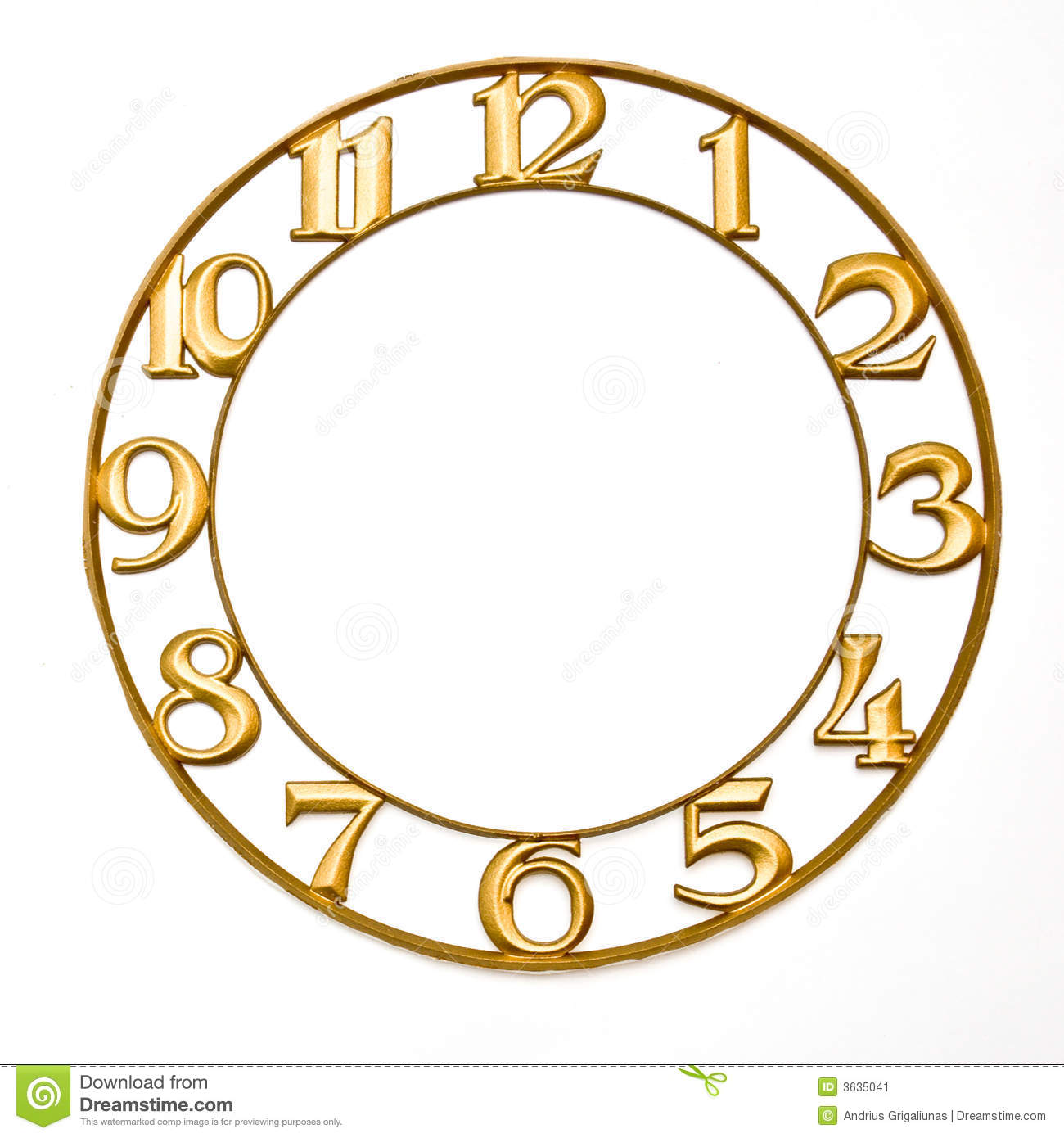 Clock-face, without hands on white background.