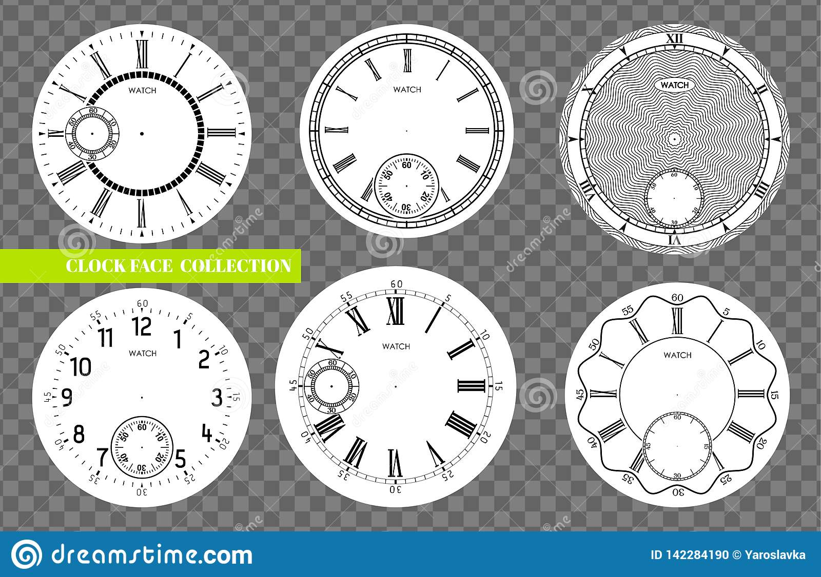 Clock Face Blank Set Isolated On Transparent Background