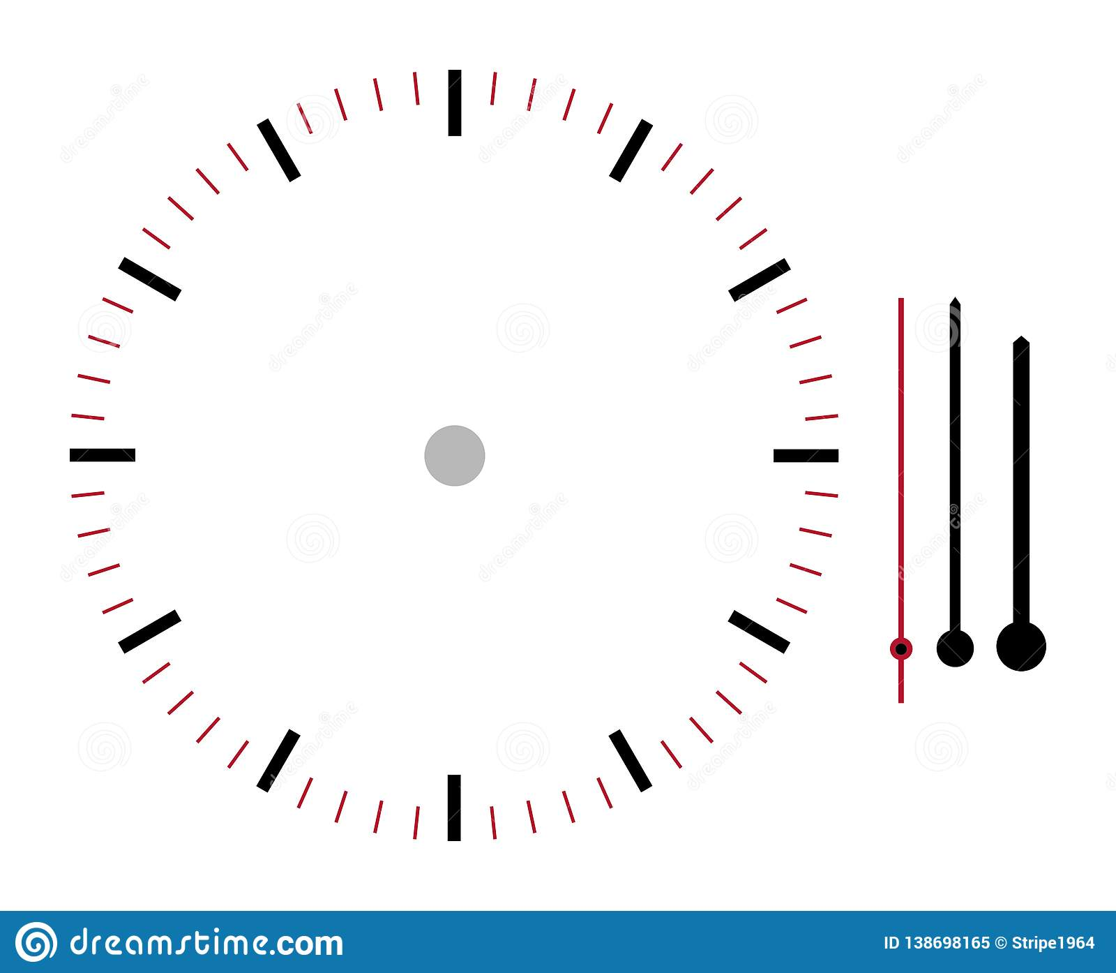 Clock face illustration with hour minute and second hands isolated on white background with clipping path