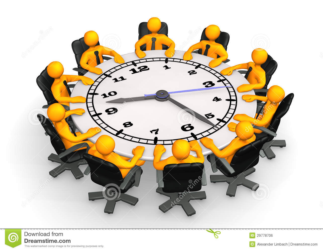 Clock Conference Table Royalty Free Stock Image Image
