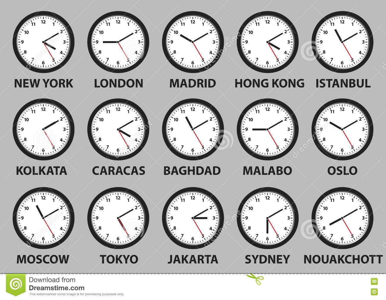 Clock Faces With Time Differences In Some World Cities ...