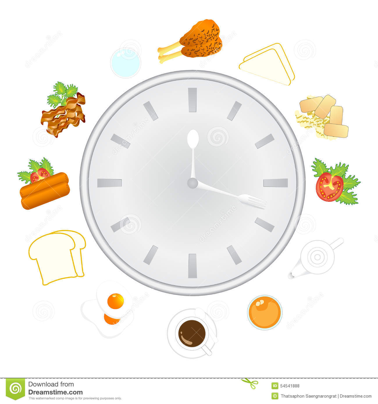 Clock With Food And Kitchen Utensils, Meal Time Stock Vector ...
