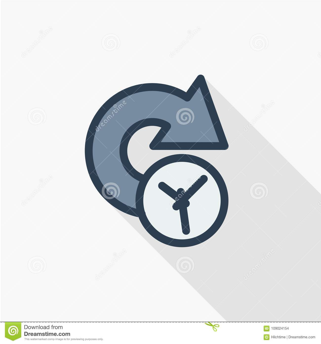 Clock Forward Future Time Thin Line Flat Color Icon Linear Vector
