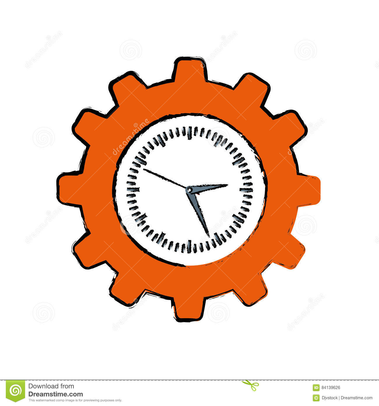 Clock with gear piece stock illustration  Illustration of
