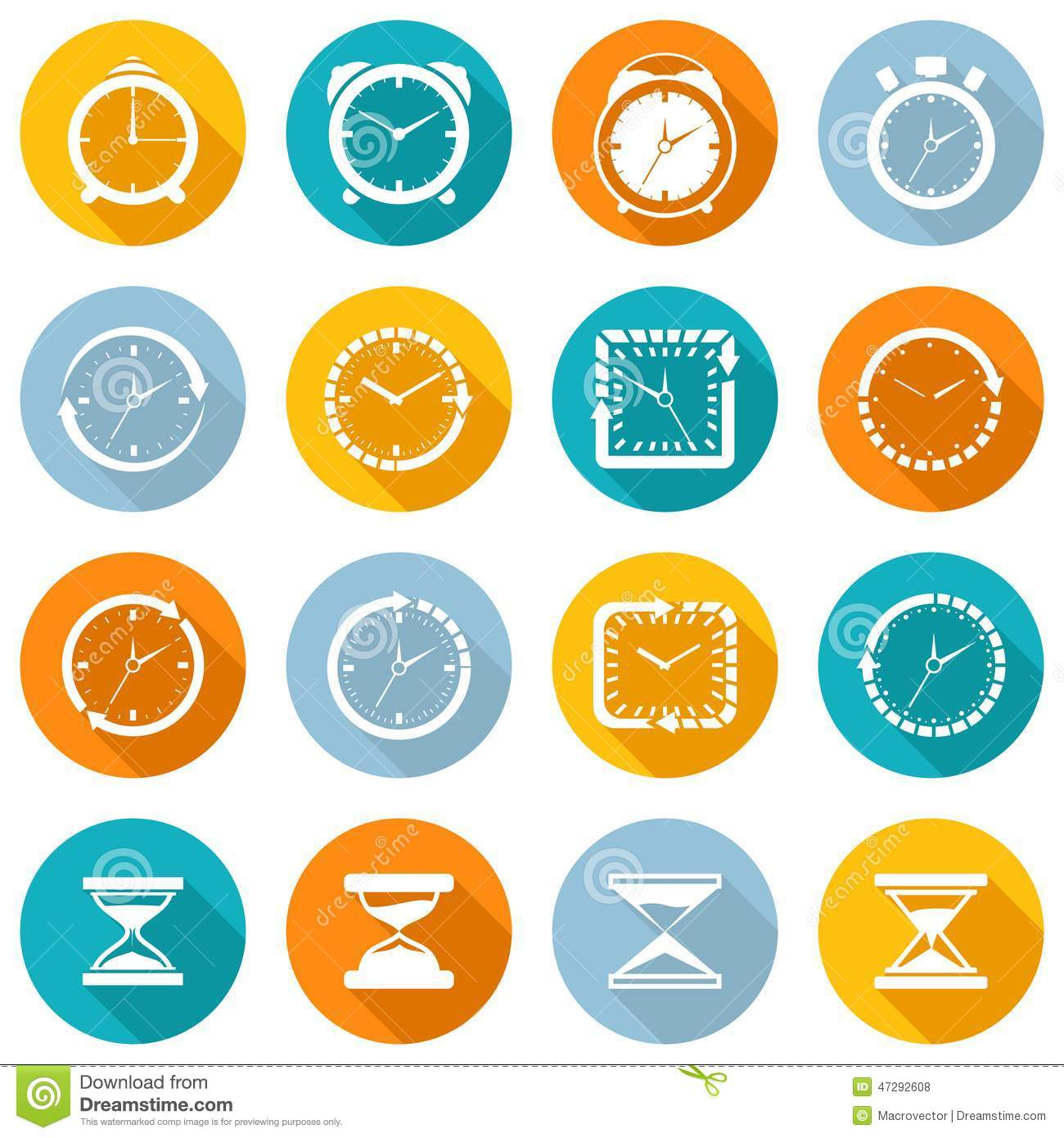 clock icon flat set stock vector  image of site  business