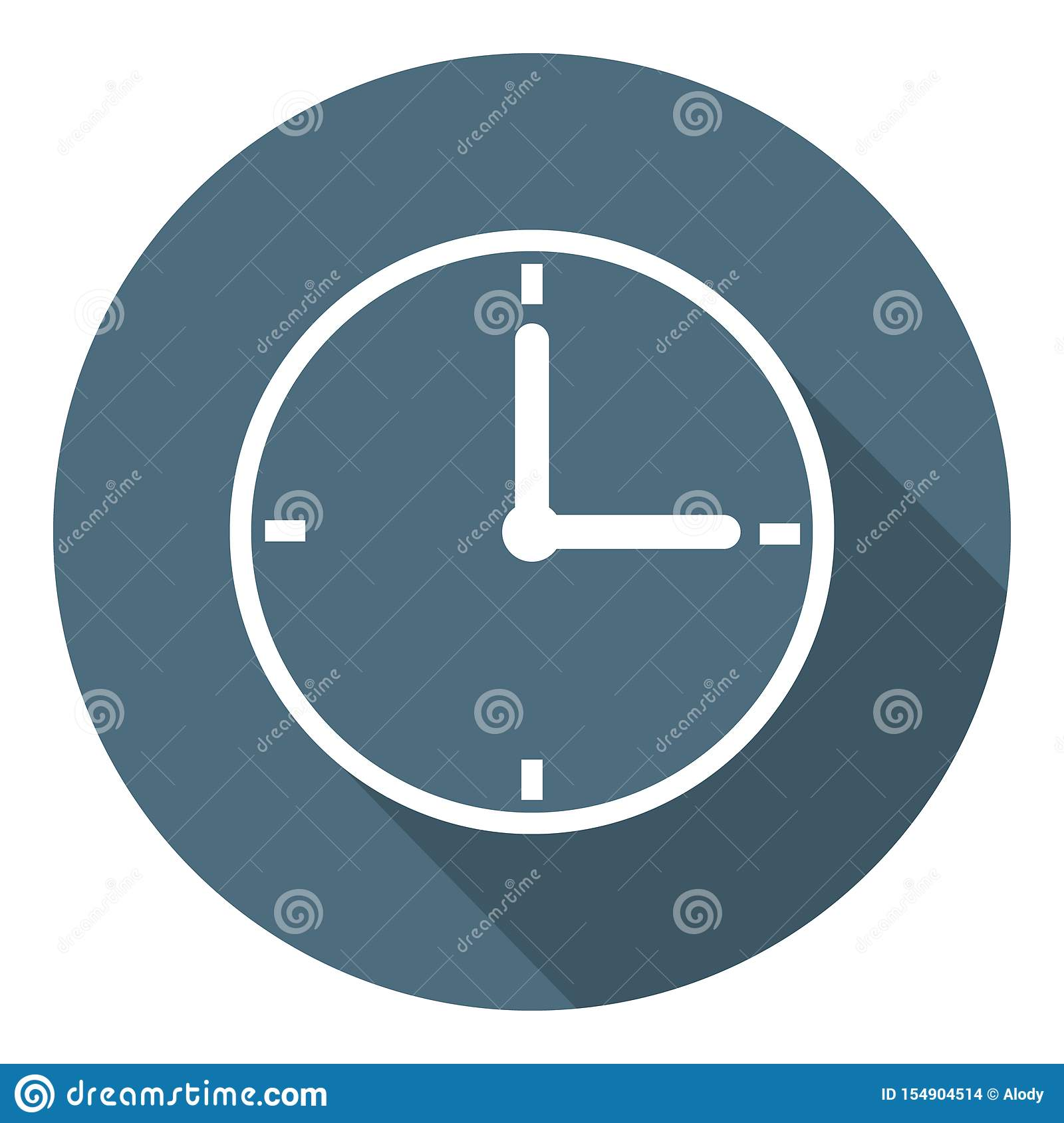 Clock Icon. Time Symbol. Outline Flat Style. Vector illustration for Your Design, Web