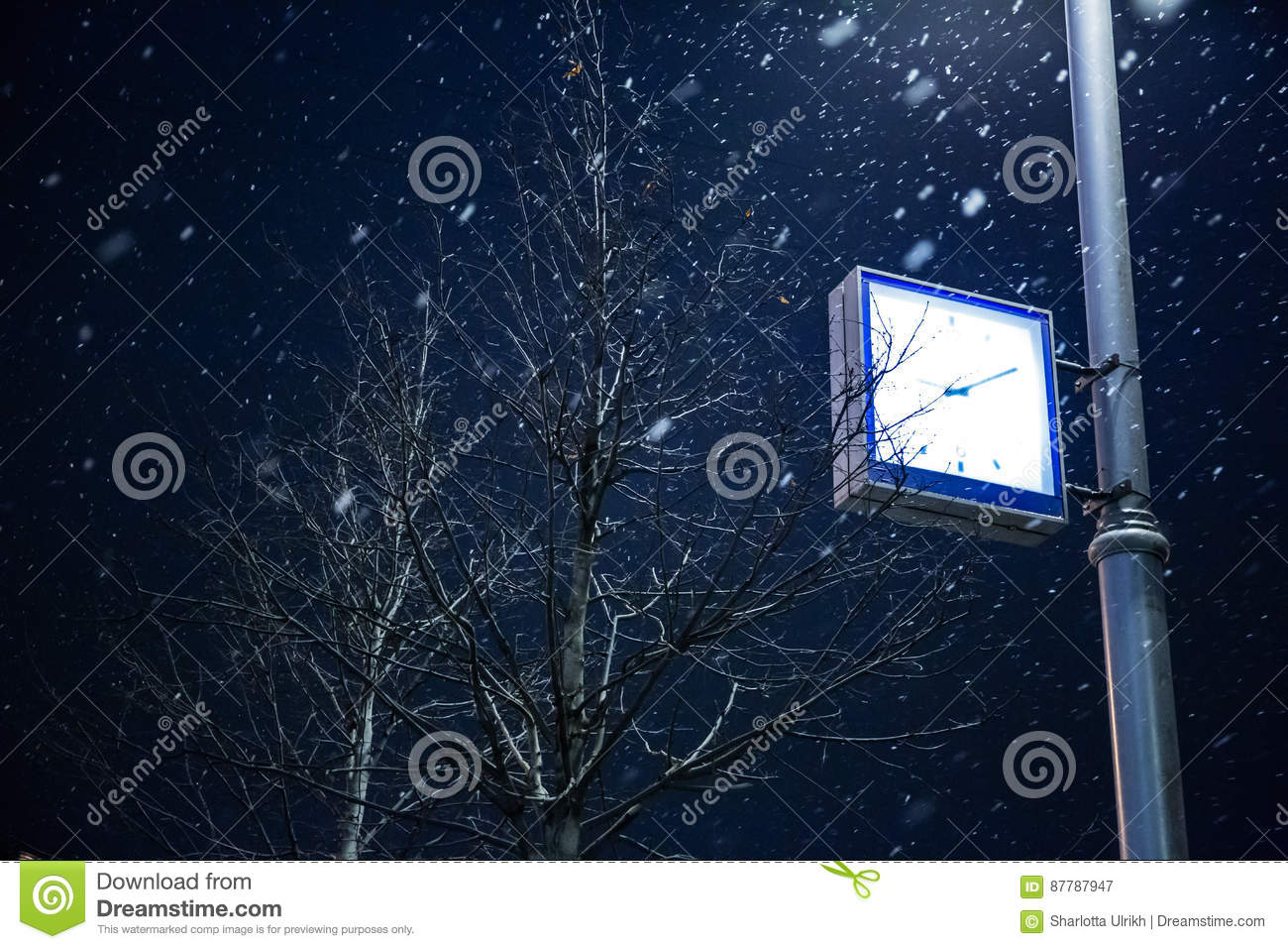 Clock on a lamppost. Moscow in winter.