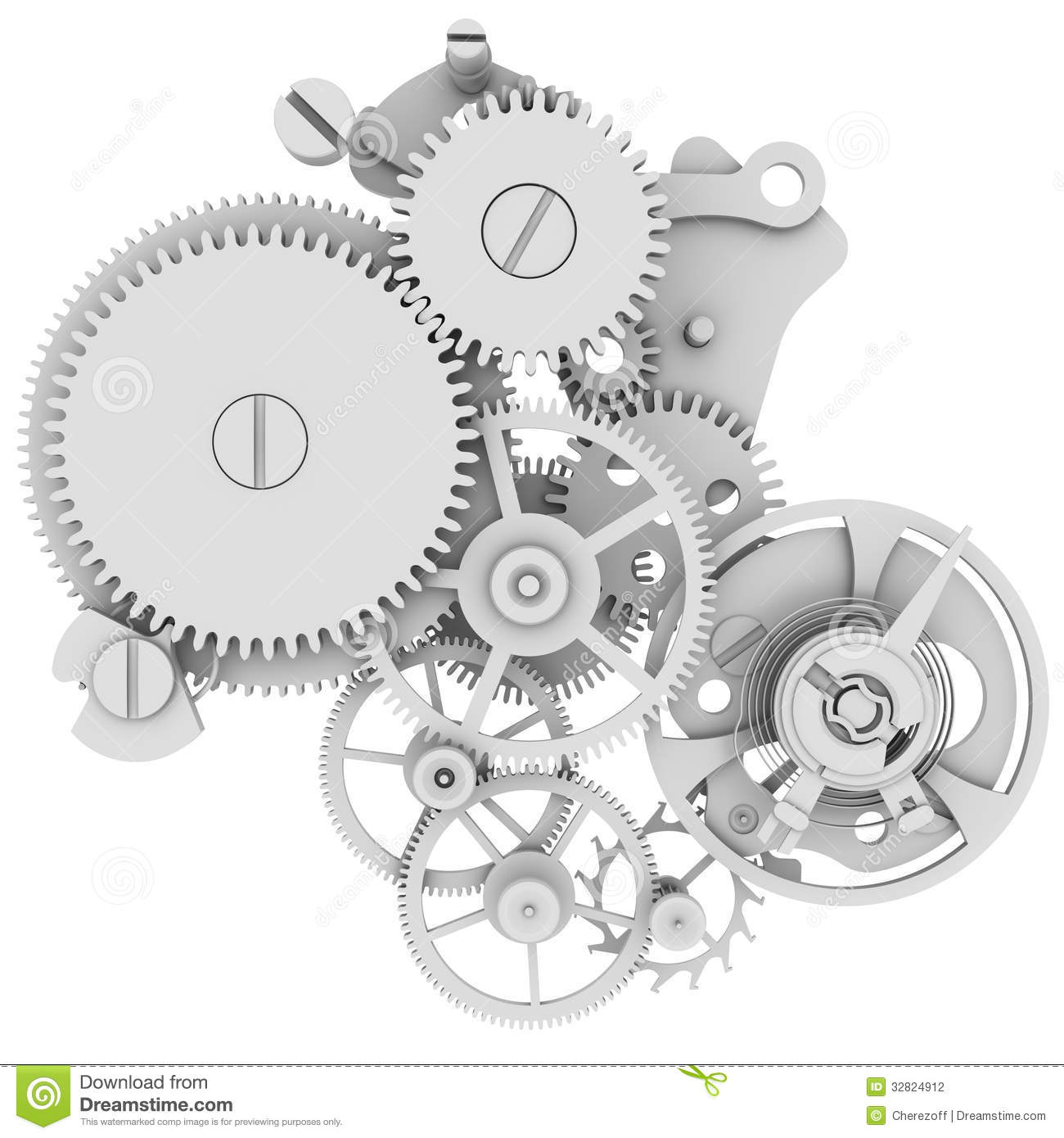 Clock mechanism. Isolated render on a white background.