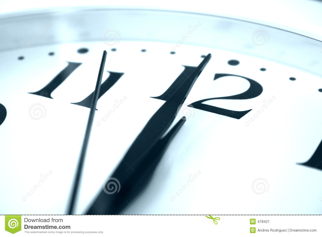 Clock At Midnight Stock Image Image Of Wall White