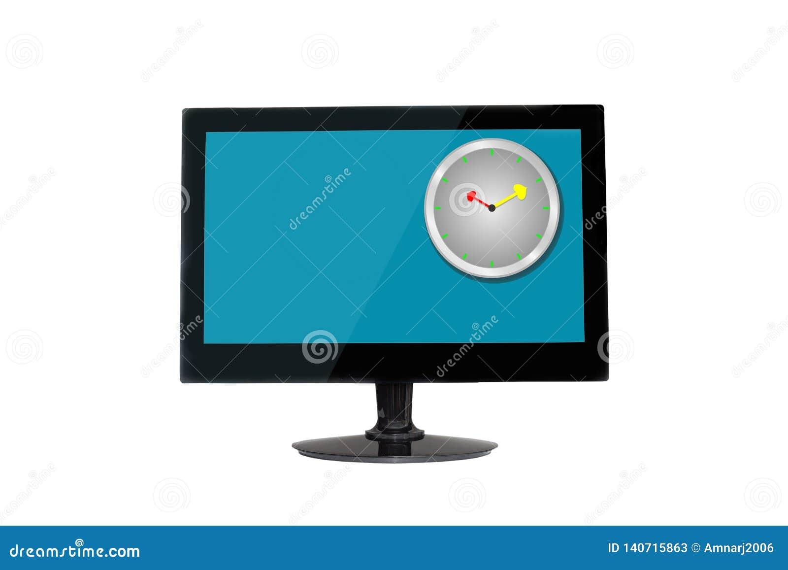 Clock on Modern flat screen monitor