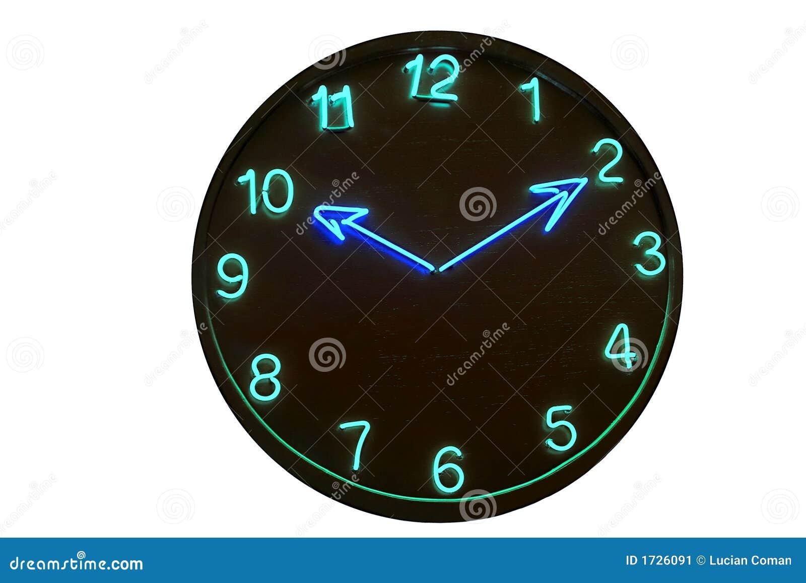 clock neon stock image image 1726091