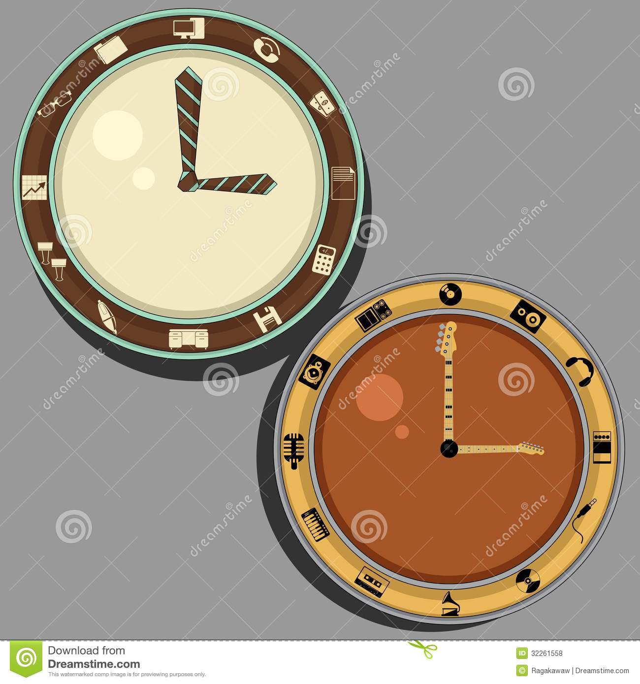 Clock For Office And Musician Royalty Free Stock Photos