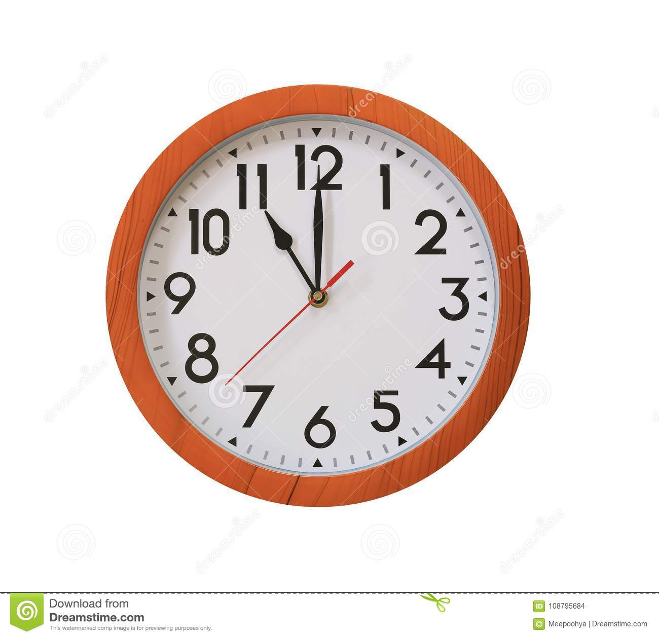 Clock Of Pattern Brown Wood In Eleven O'clock Isolated On