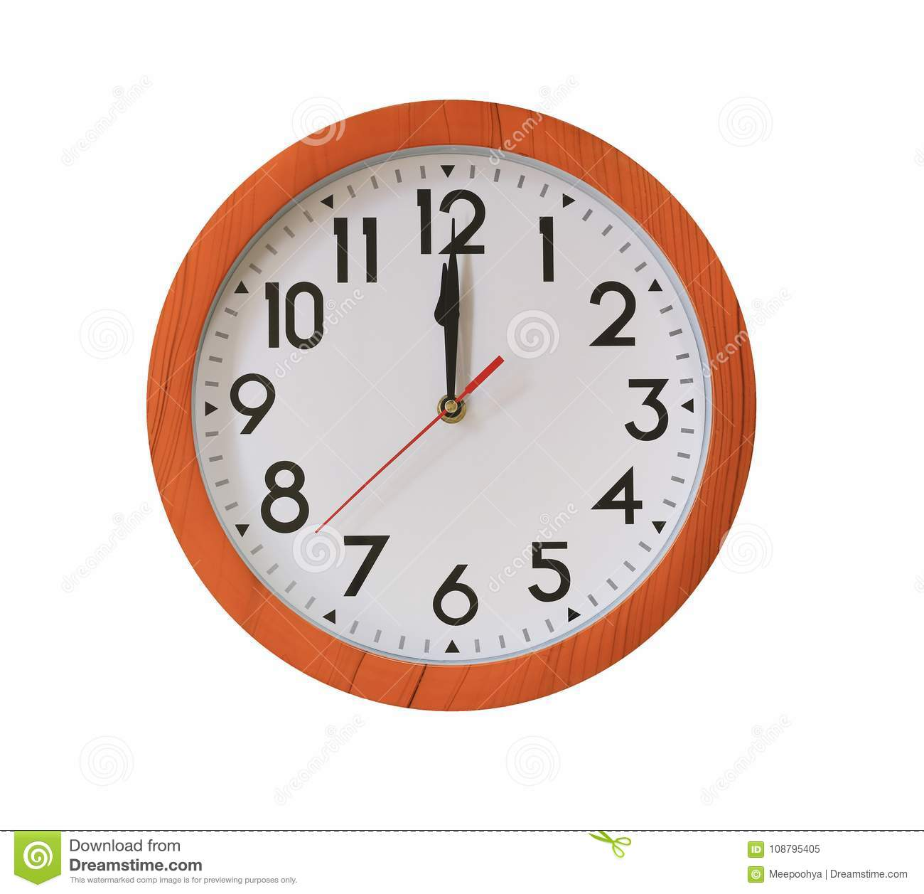 Clock Of Pattern Brown Wood In Twelve O Clock Isolated On