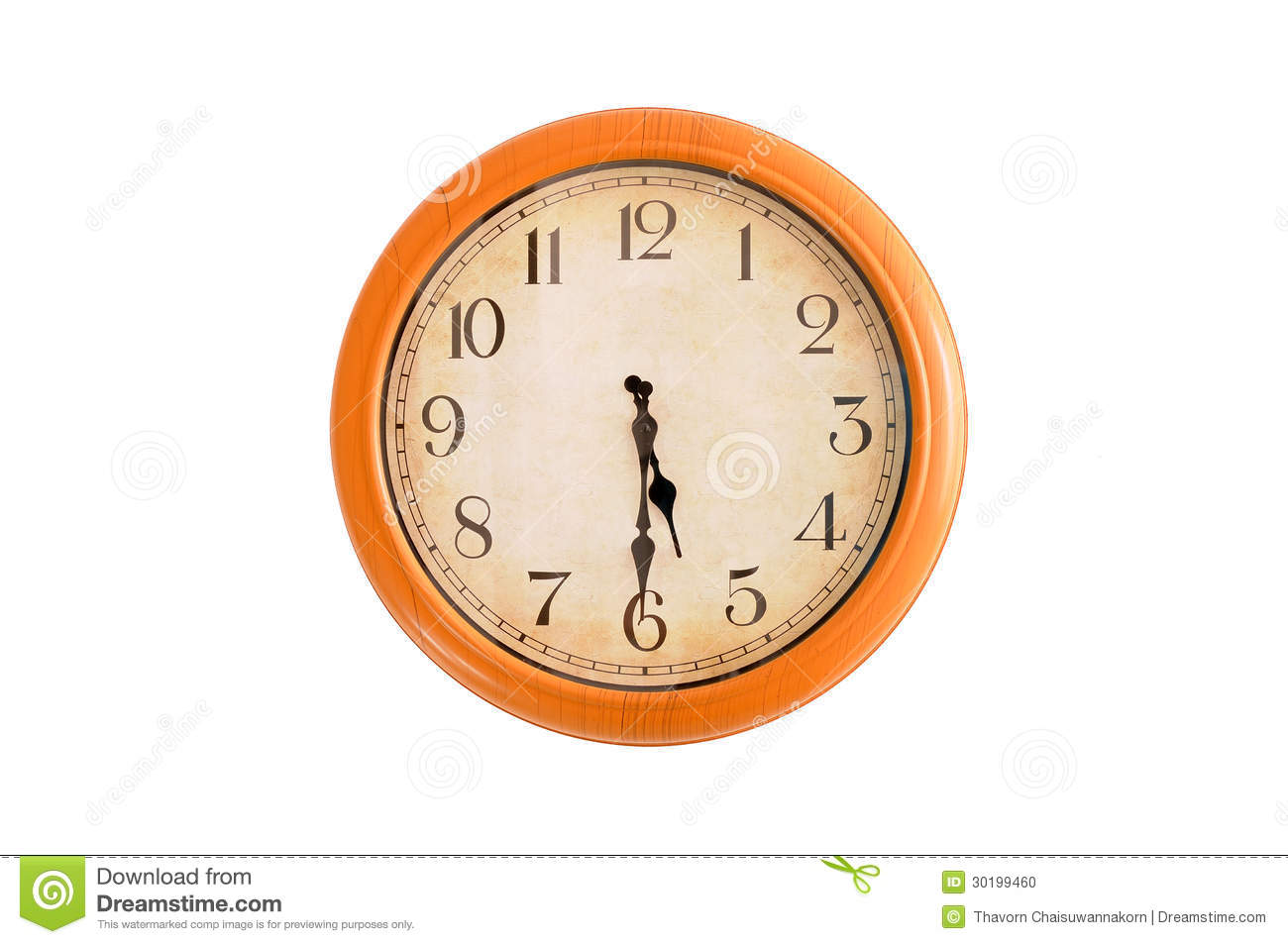 Clock Showing 5:30 O'clock Stock Photo - Image: 30199460