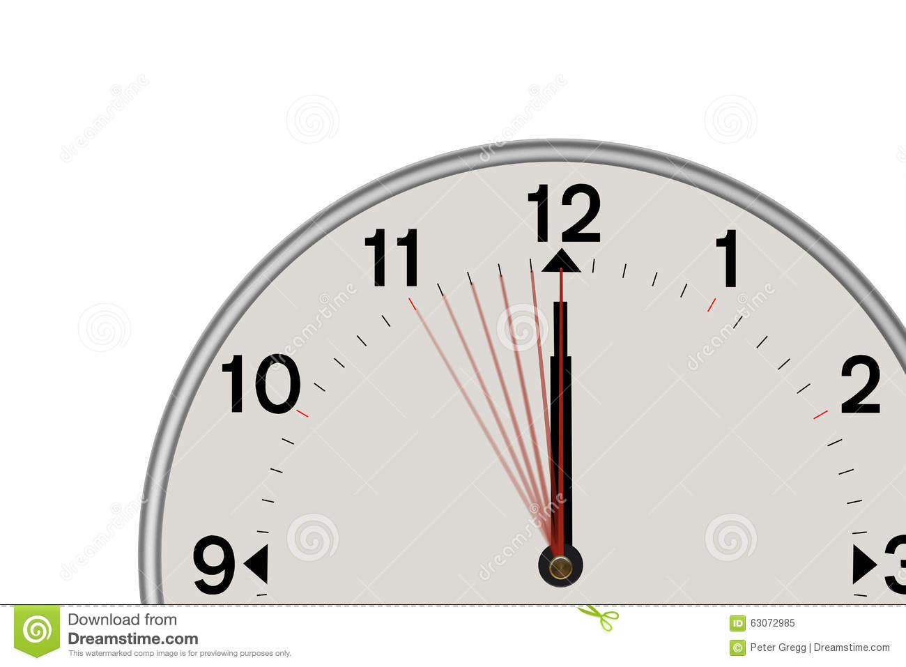 Clock showing a 5 second Countdown (White background)