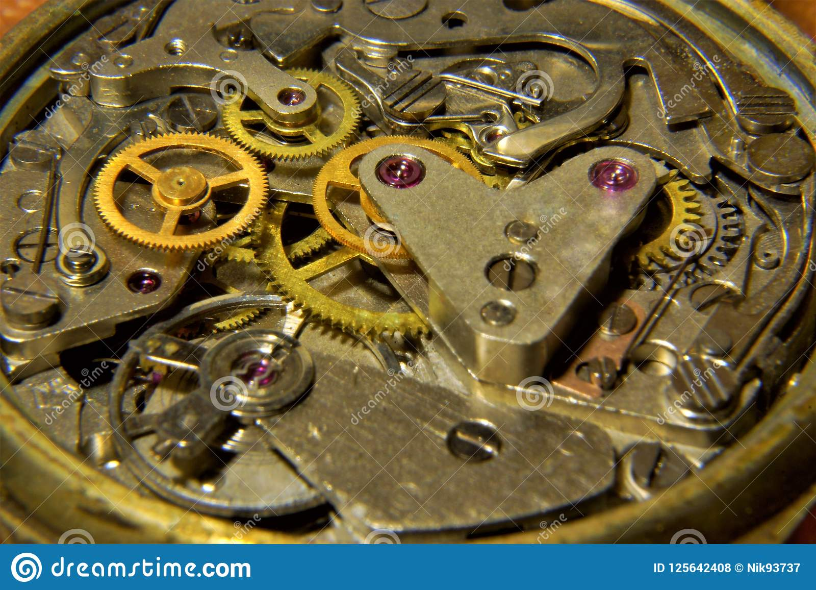 The Clock Shows The Gear Mechanism Time Stock Photo - Image of shows