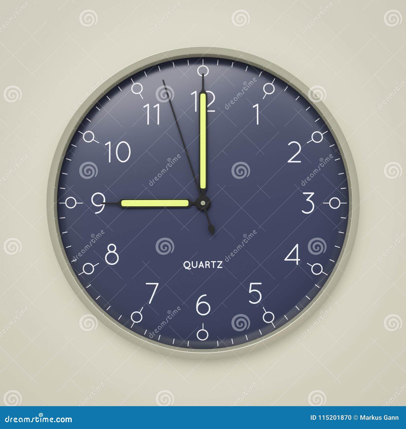 a clock shows 9 o  clock