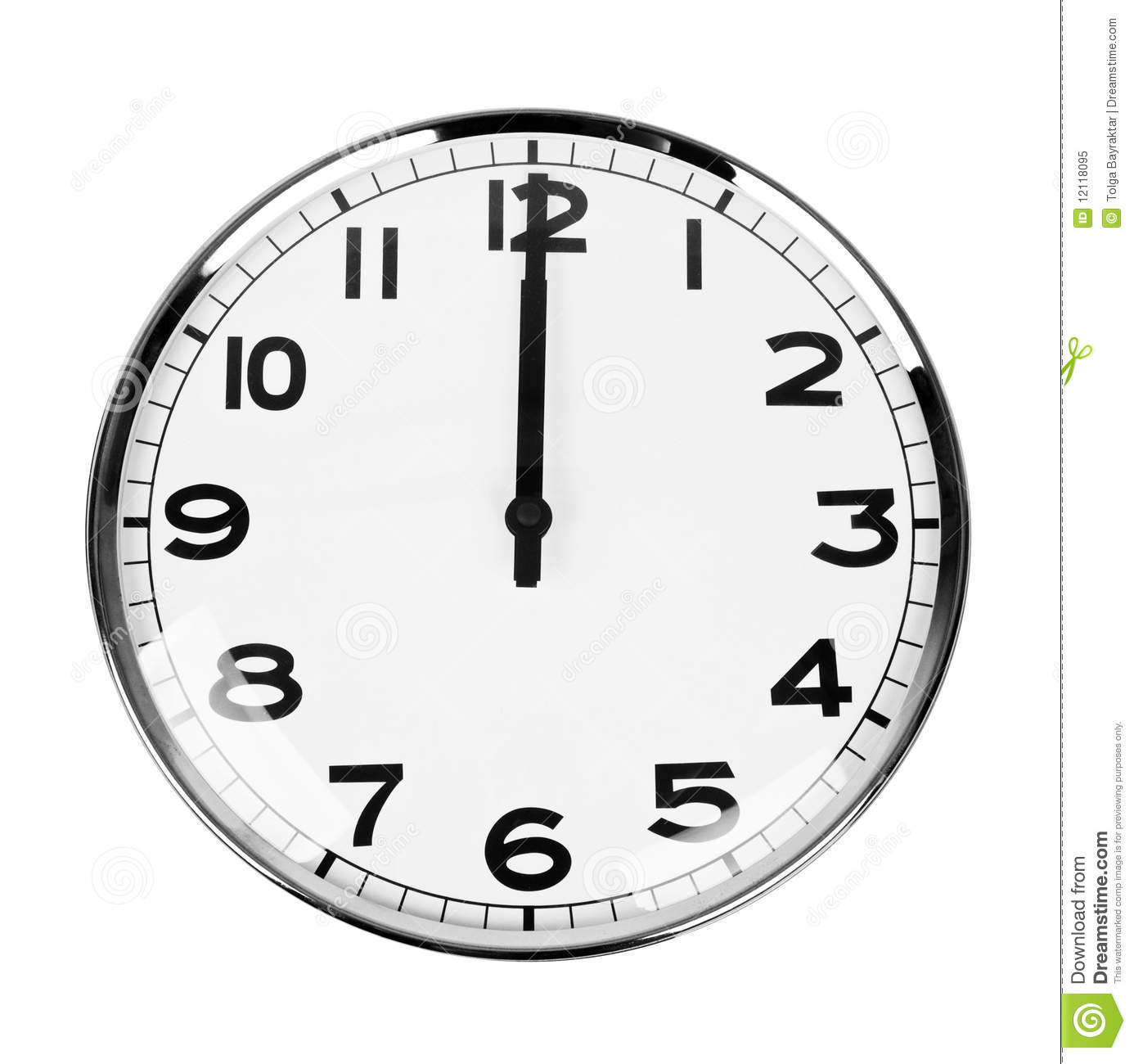 Clock Sign 12 O'Clock Royalty Free Stock Photo - Image: 12118095