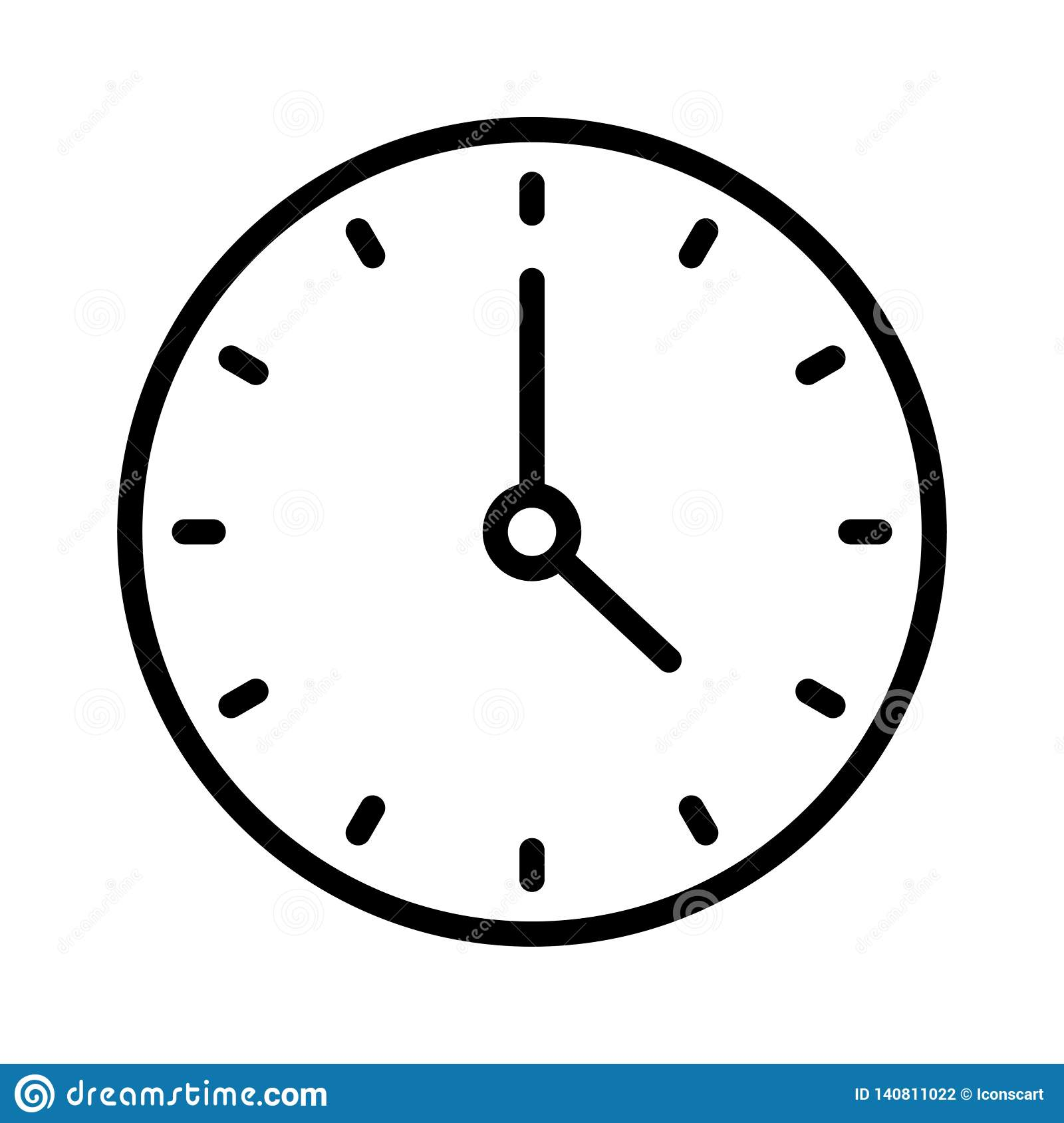Clock Thin Line Vector Icon Stock Illustration - Illustration of graphic, flat: 140811022