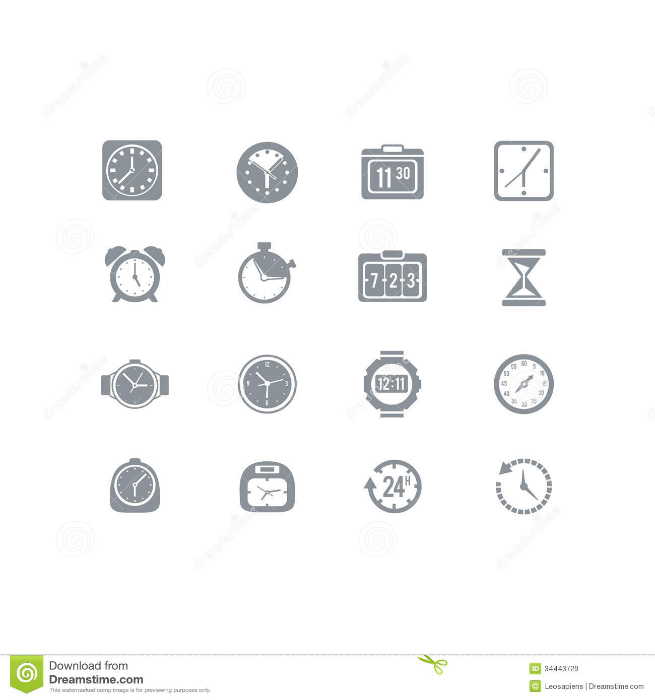 An icon set full of clocks for all your clock needs eps 10 no