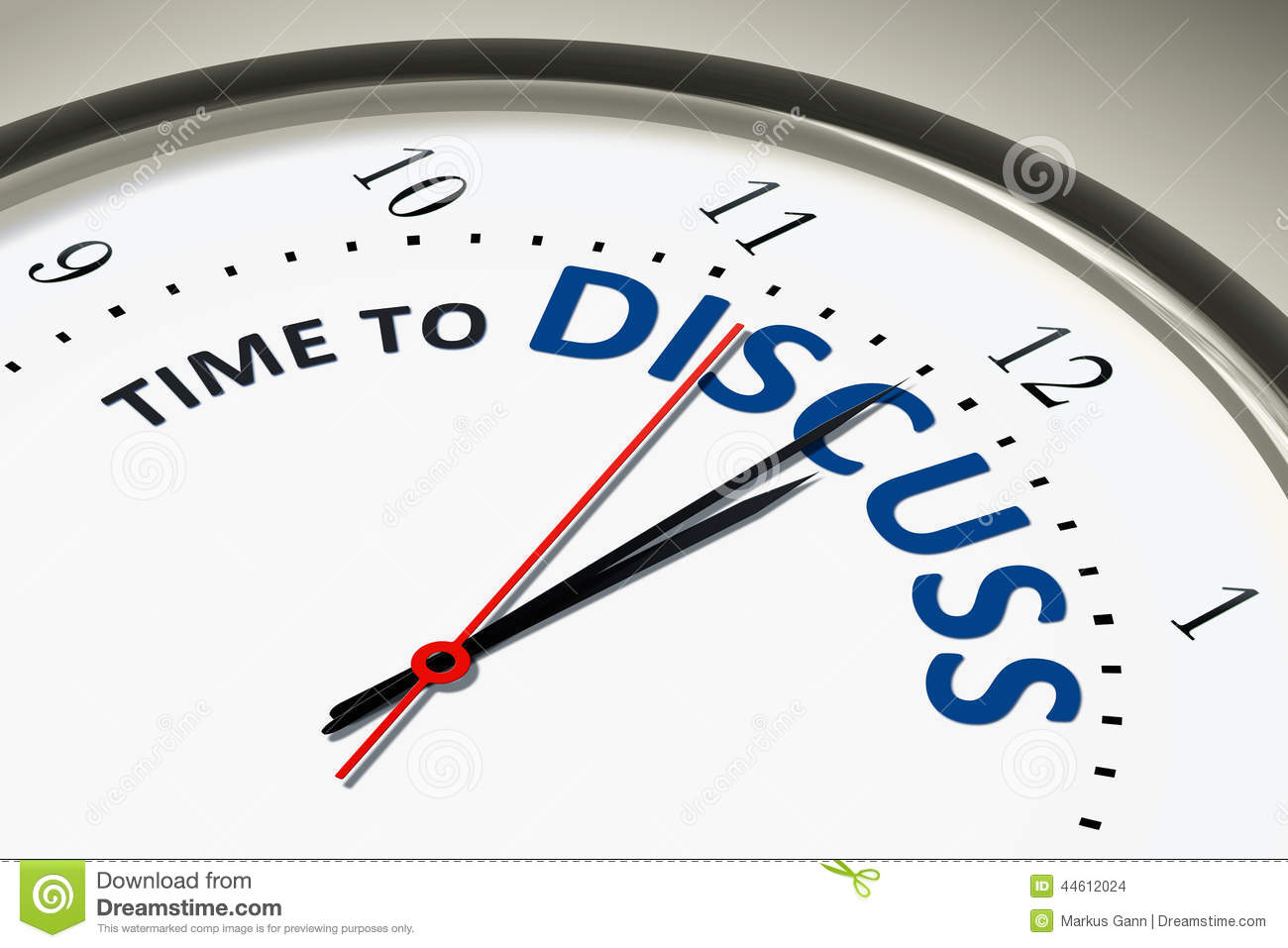 Clock With Time To Discuss Stock Illustration Image