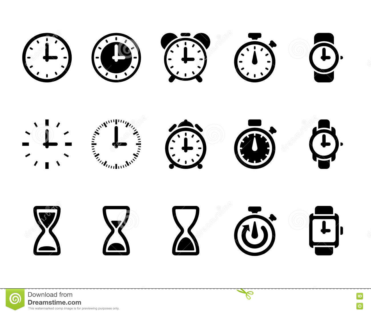 clock  time vector icons stock vector