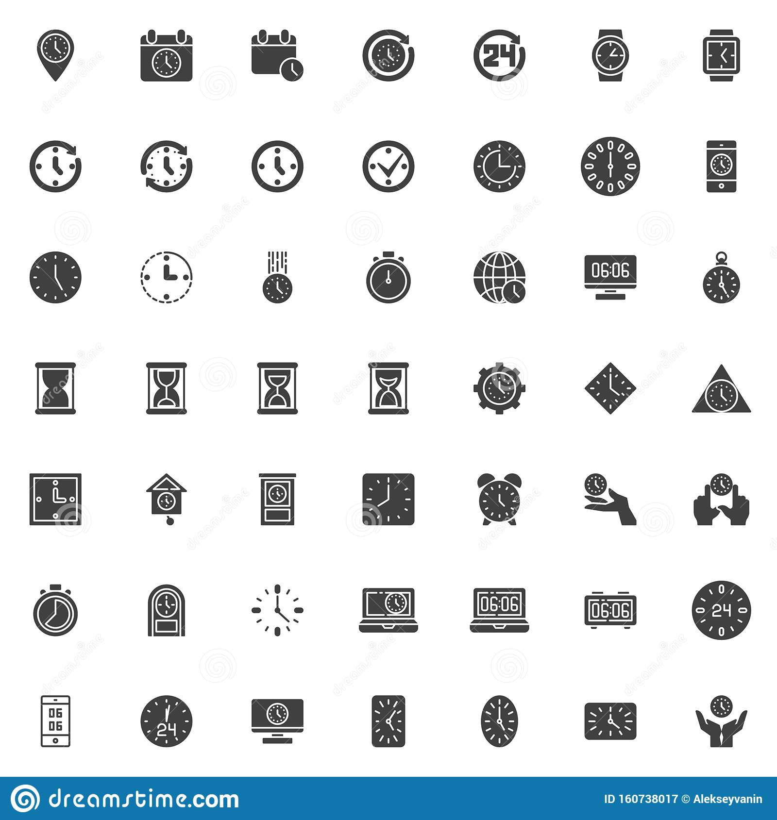 Clock time vector icons set