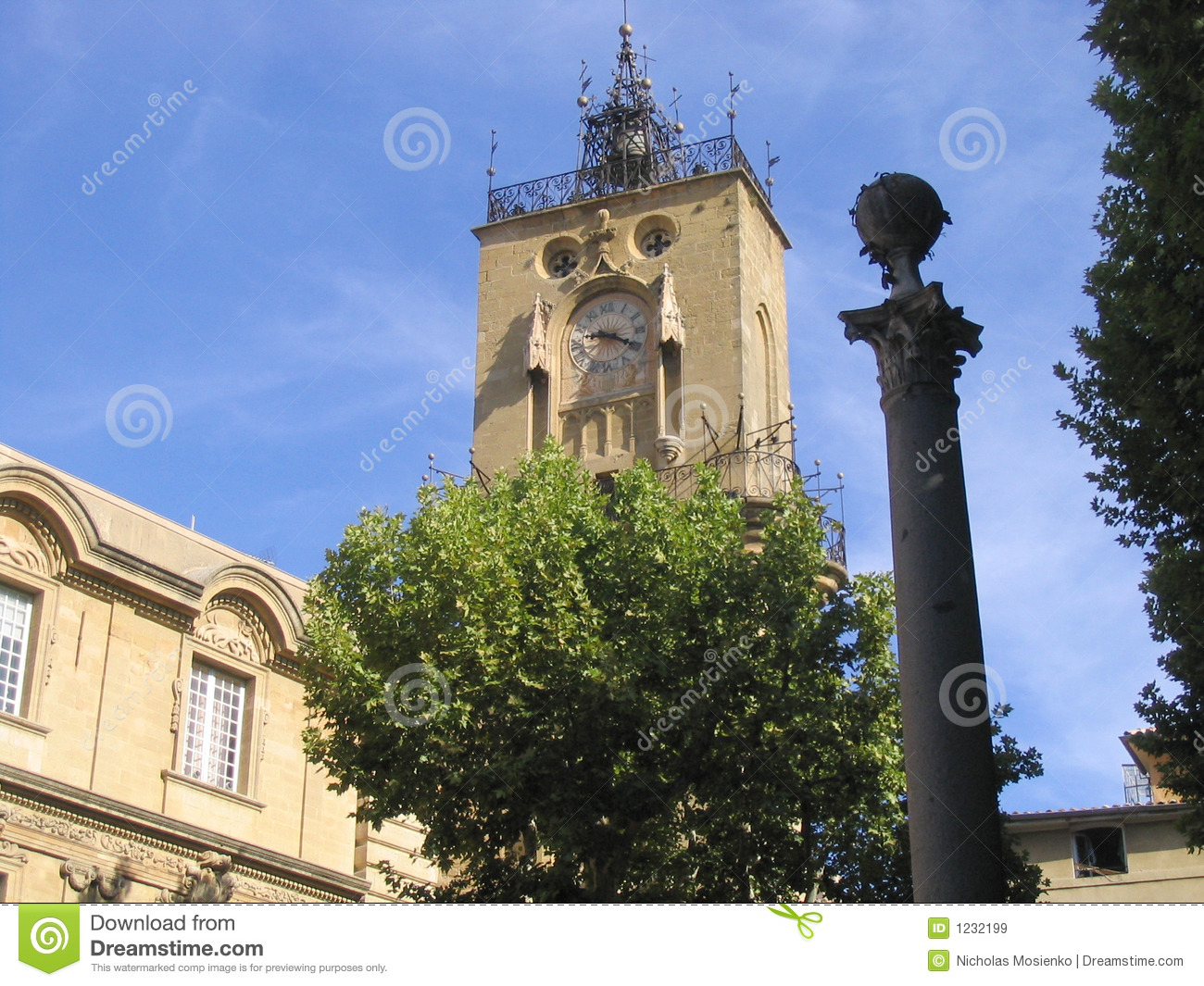 Stone Aix En Provence clock tower, aix-en-provence, france stock image - image of