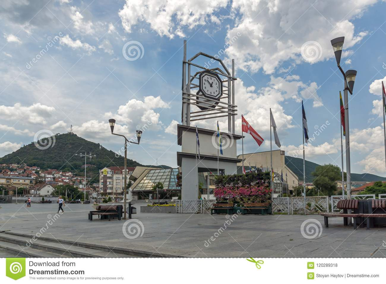 Clock Tower at the central square of town of Strumica, Republic of Macedonia