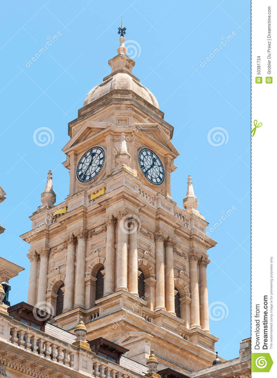 Clock Tower Of City Hall In Cape Town South Africa Stock