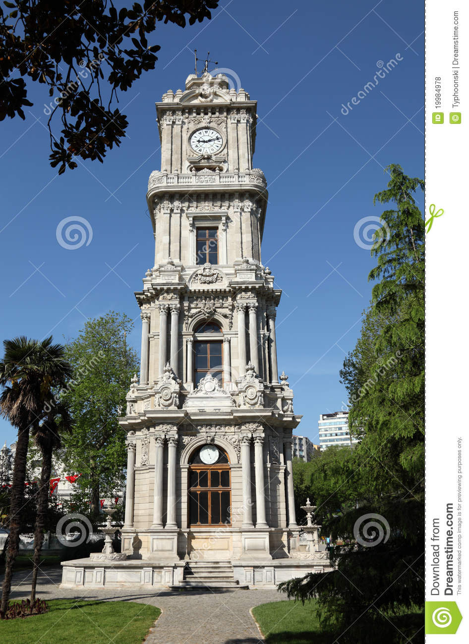 Clock Tower At Dolmabahce Palace Royalty Free Stock Photos ...