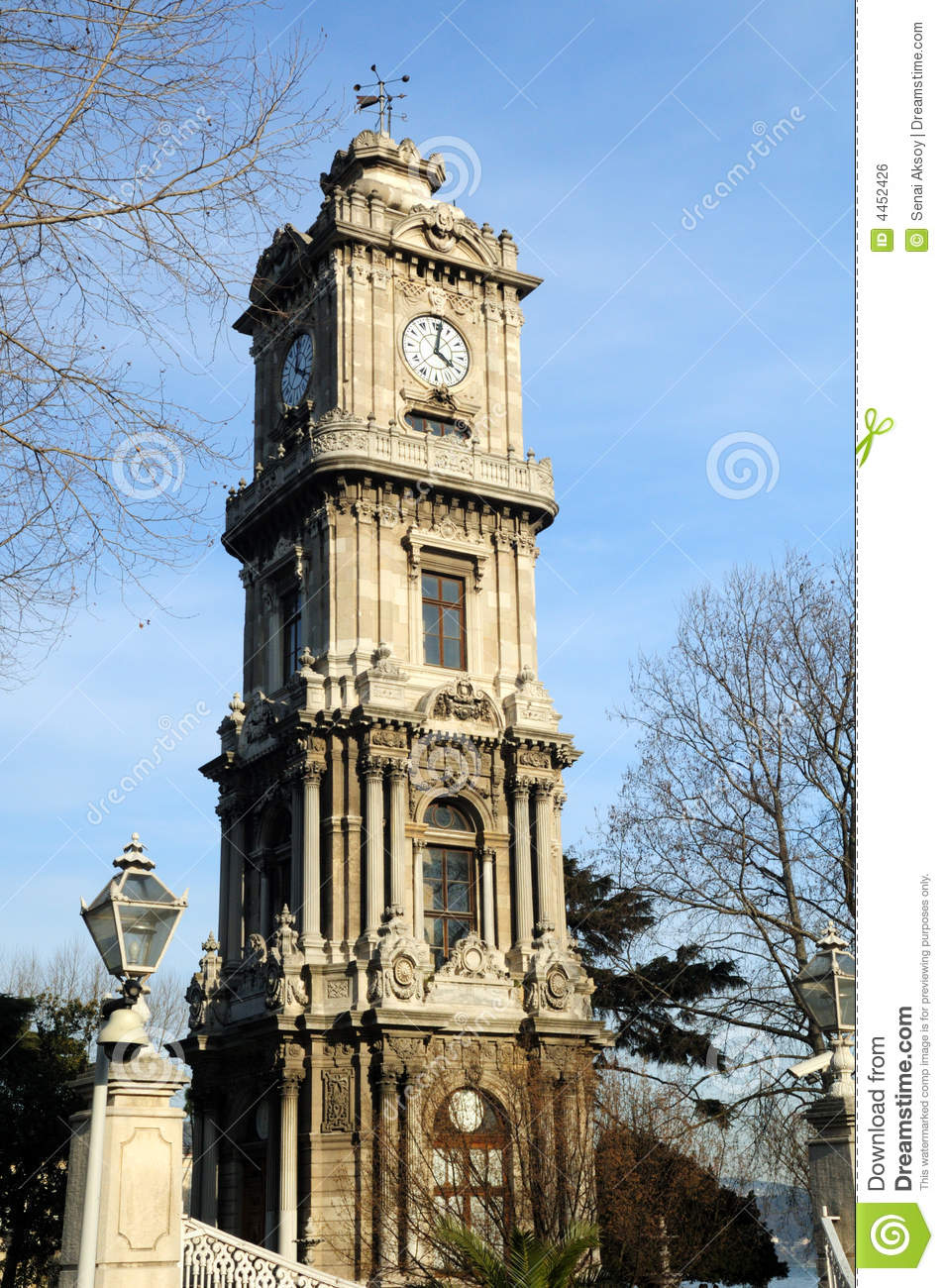 clock tower from dolmabahce palace istanbul royalty free