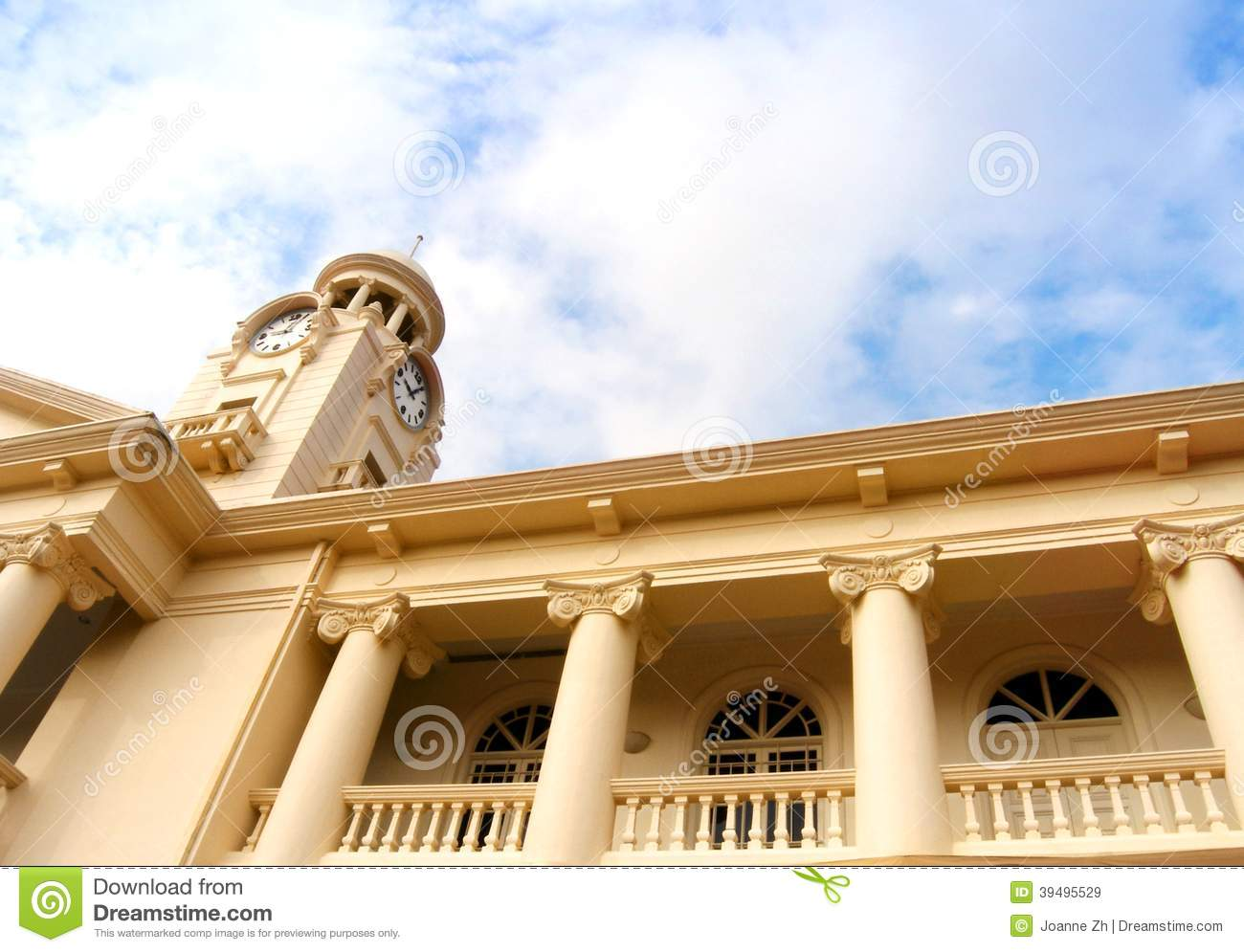 Clock Tower Of Historic Chinese School In Singapore Stock Image