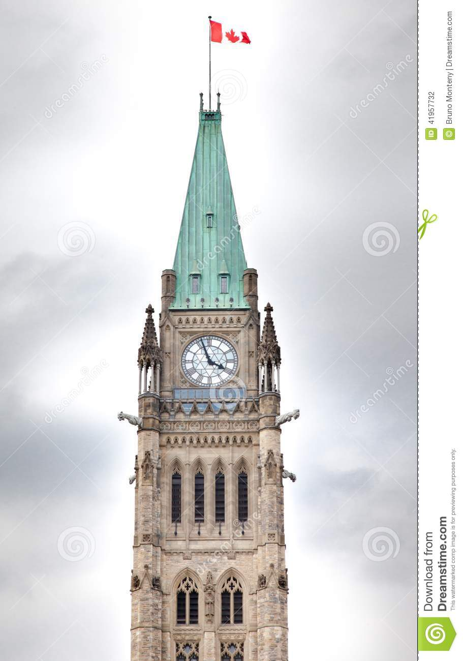 clock tower in a parliament building peace tower centre