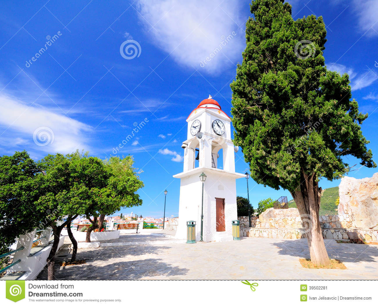 Clock tower in Skiathos, Greece against the blue sky