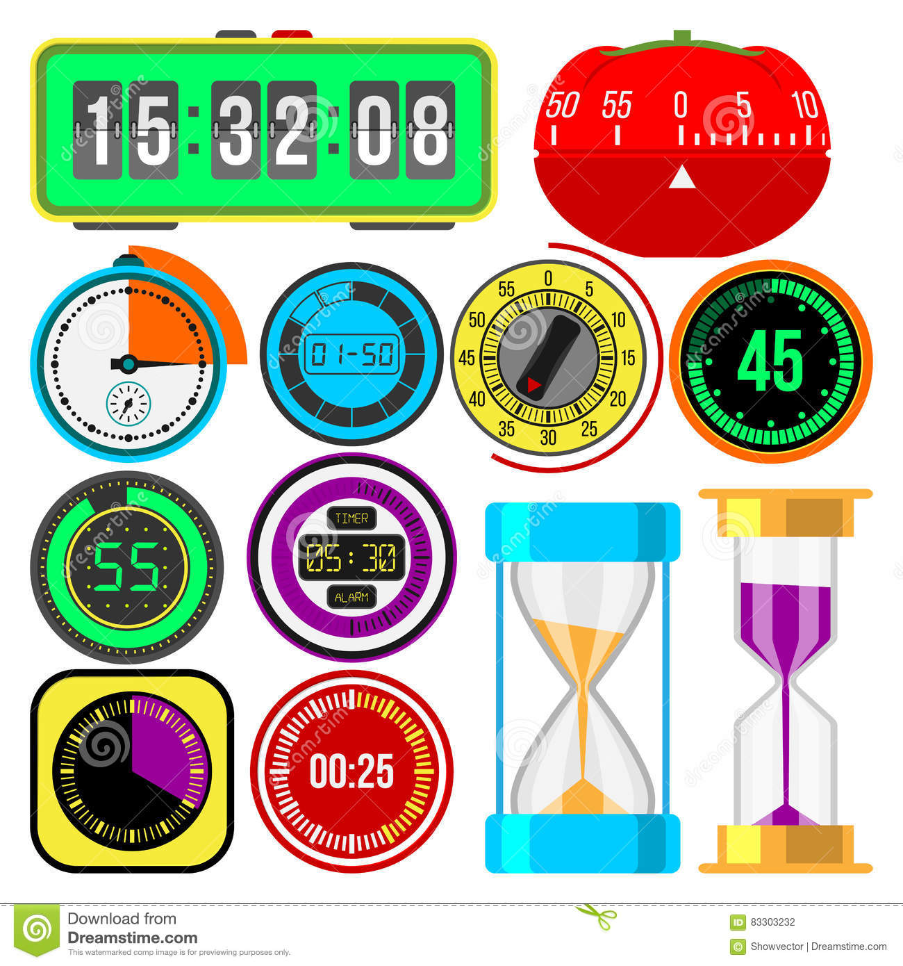 Clock And Watches Vector Icons Set  Stock Vector - Illustration of