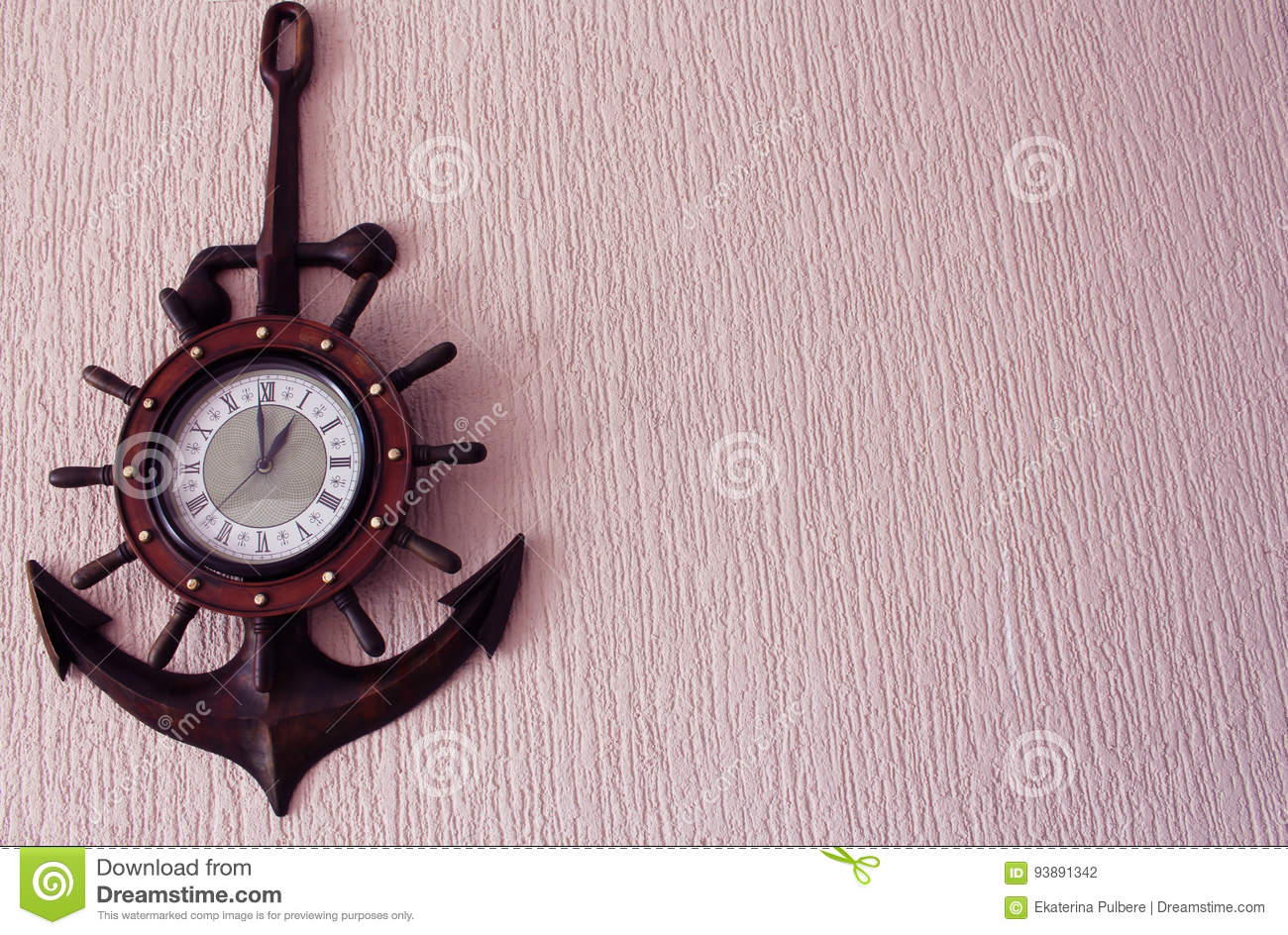 Clock in wood anchor on pink wallpaper background stock photo royalty free stock photo amipublicfo Images