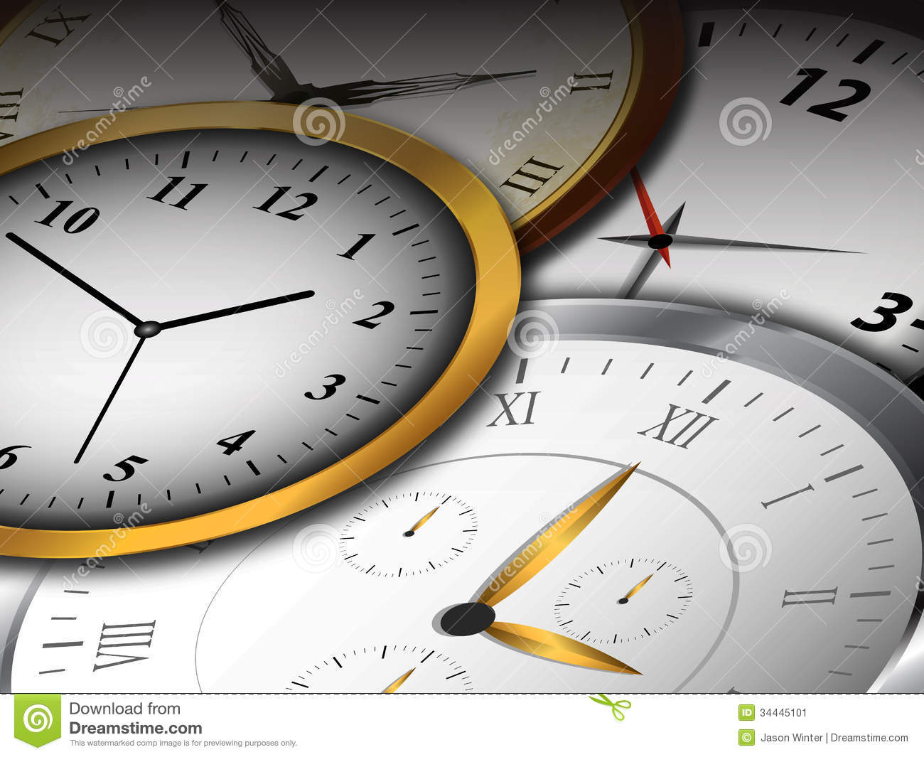 Clocks Background Stock Image Image 34445101