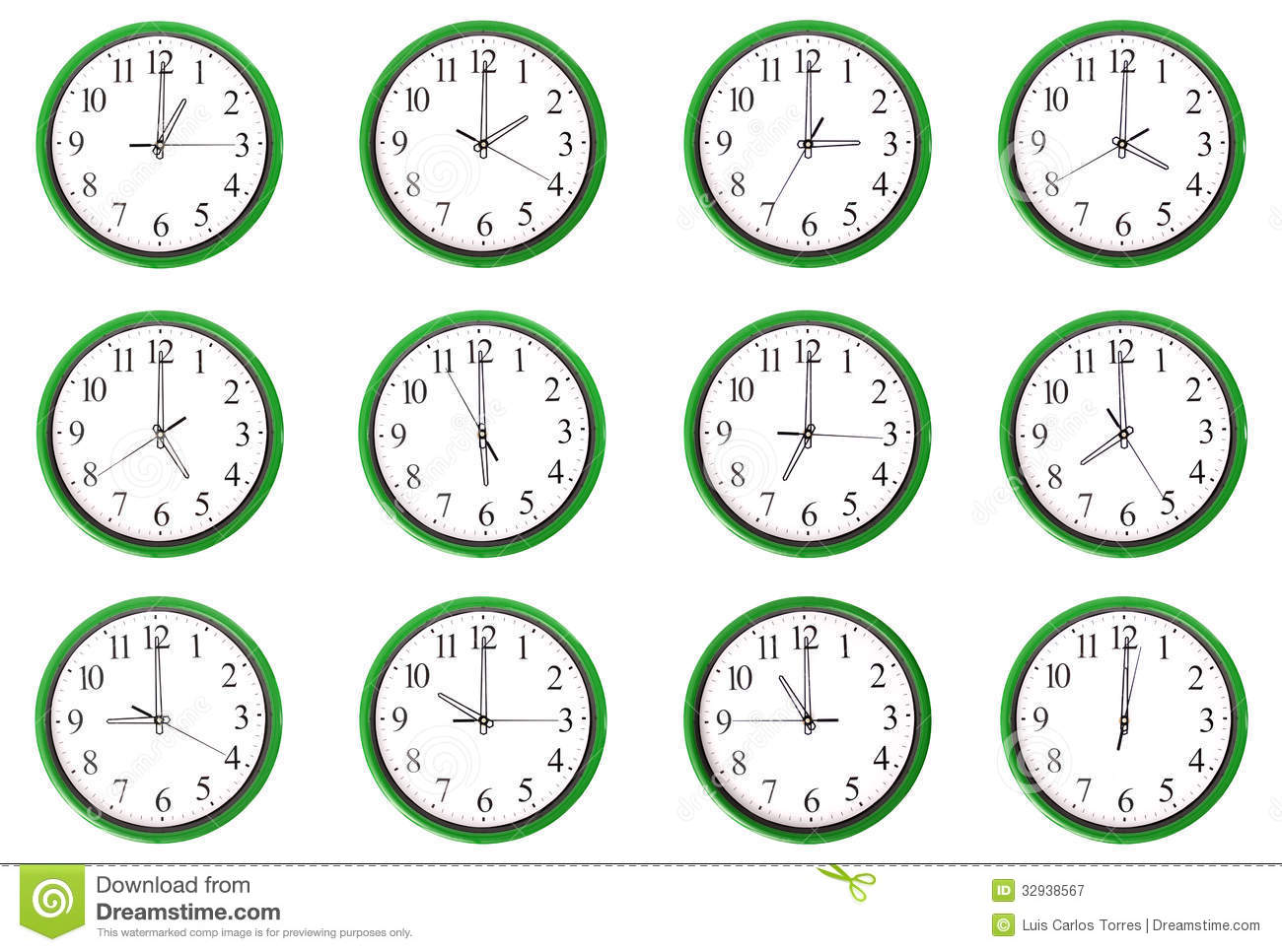 Clocks - 12 Different Hours Royalty Free Stock Photography - Image: 32938567