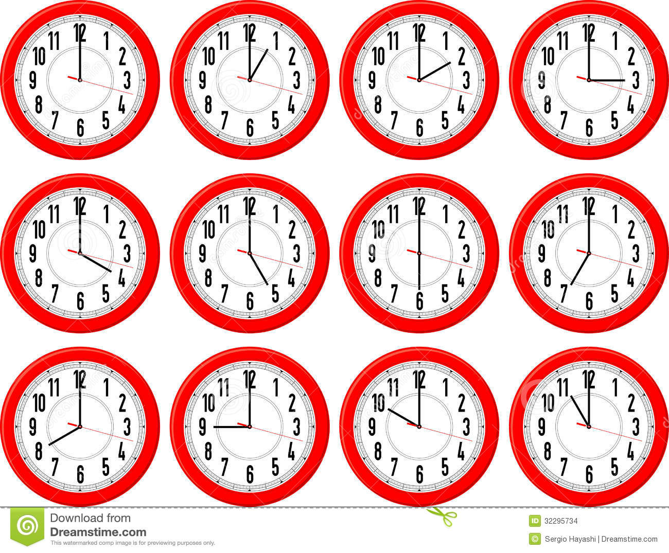 Red clocks isolated on white background each showing a different hour.
