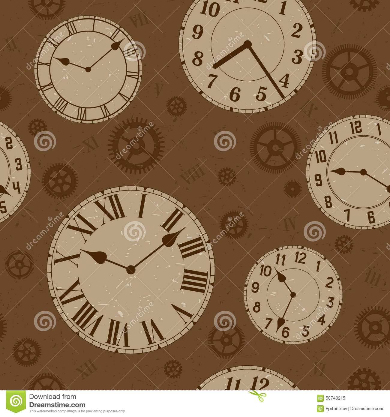 Clocks And Gears Vector Distressed Seamless Pattern  Stock