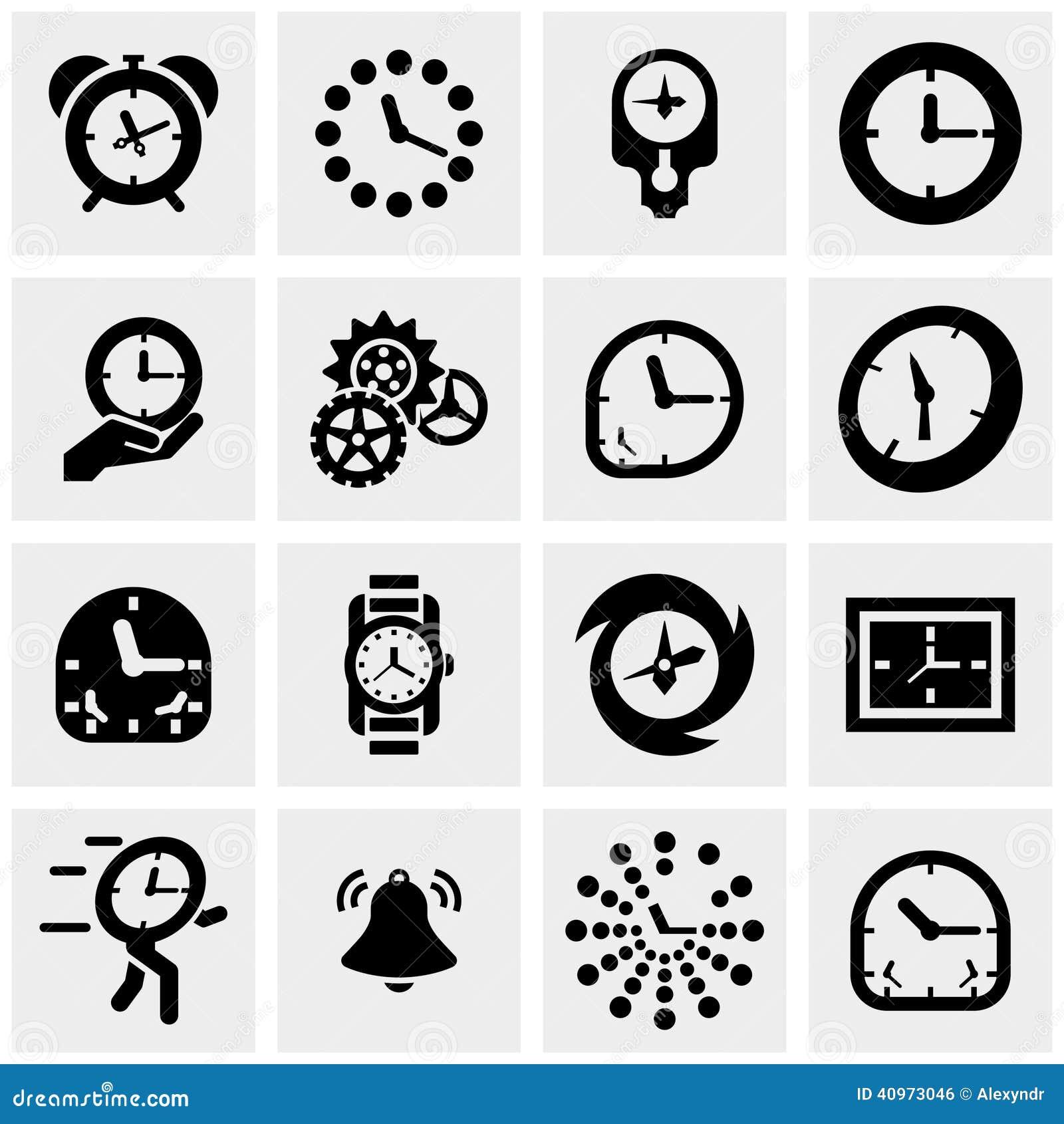 Clocks vector icons set on gray
