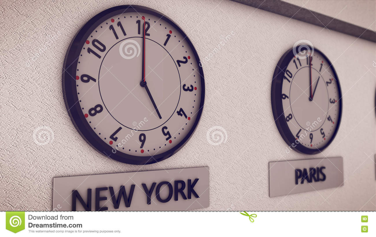 Clocks On Wall Symbol For Greenwich Mean Time Stock Illustration